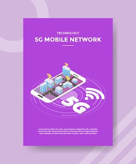Technology 5g mobile network city on smartphone flyer template