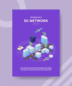 Technology 5g network satelite on city building server flyer template