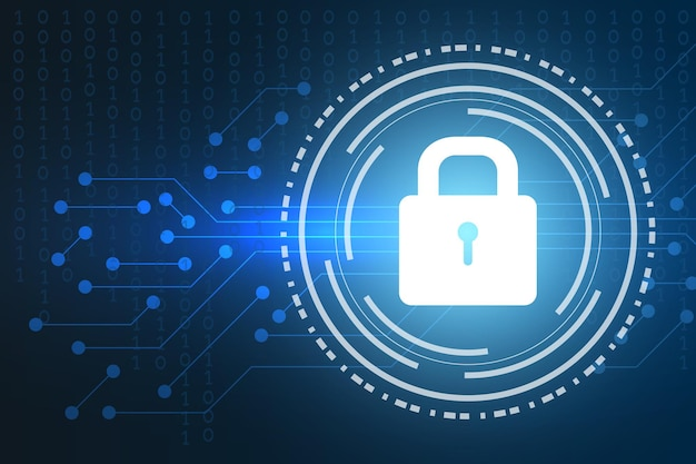 Technology abstract background with padlock icon cyber security concept or data protection and privacy
