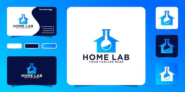 기술 추상 생물학 연구 하우스 로고 및 명함 영감