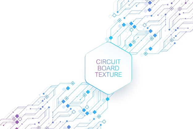 Technology abstract circuit board texture background. high-tech futuristic circuit board banner wallpaper. engineering electronic motherboard vector illustration. technological communication concept
