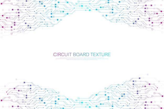 技術抽象回路基板テクスチャ背景。ハイテク未来的な回路基板のバナーの壁紙。図。