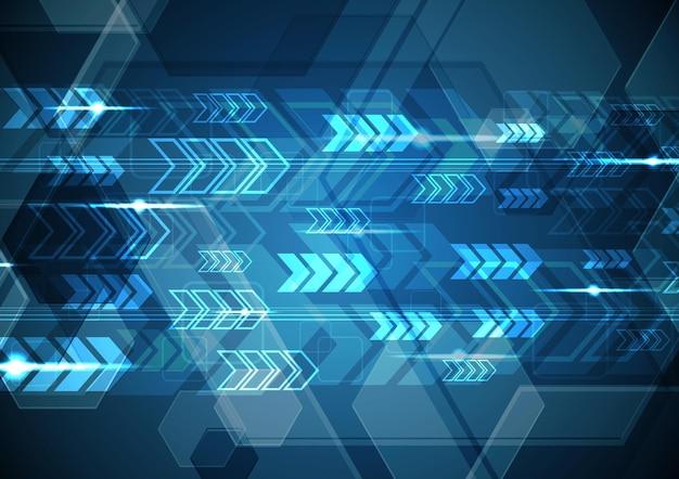 技術抽象的なデジタル未来現代矢印六角形の背景