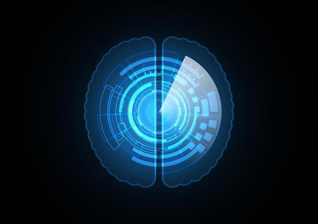 Technology abstract future brain circle background vector illustration Premium Vector