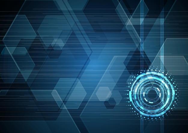 技術抽象的な未来の回路円六角形の背景
