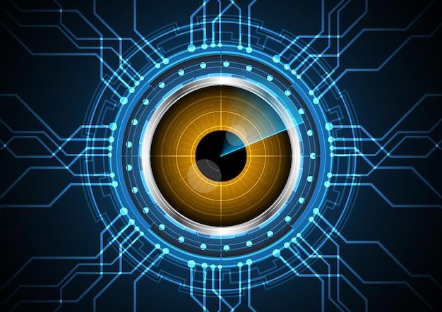 技術抽象的な未来の目のレーダー回路の背景図