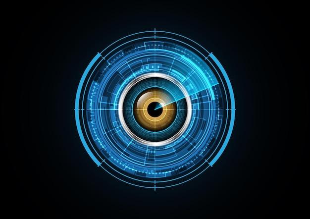 Technology abstract future eye radar security circle background vector illustration Premium Vector