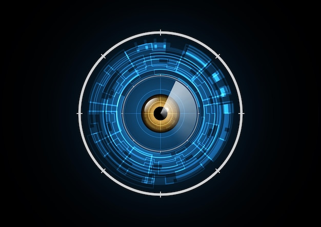 Technology abstract future eye radar security circle background vector illustration