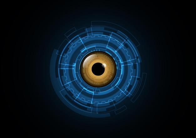 Technology abstract future eye security circle background vector illustration