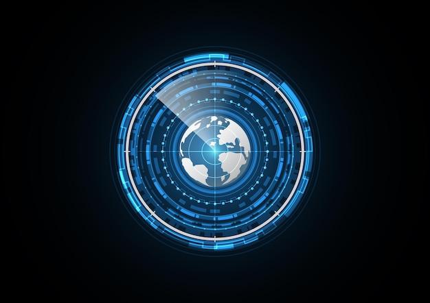 テクノロジーアブストラクト未来地球レーダースキャンサークル
