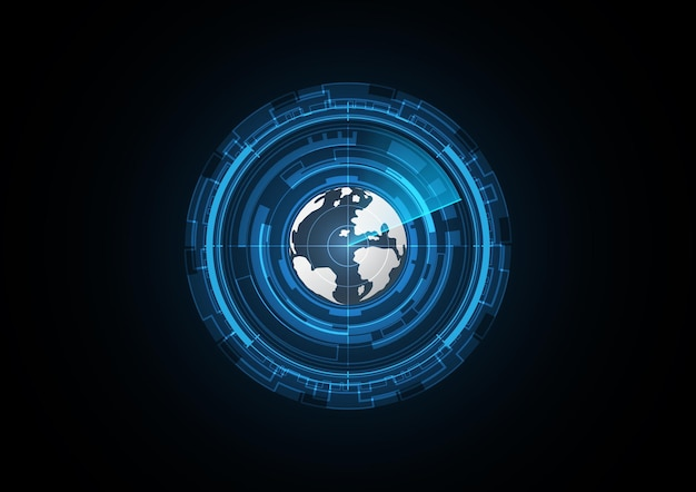 Technology abstract future globe radar security circle background vector illustration