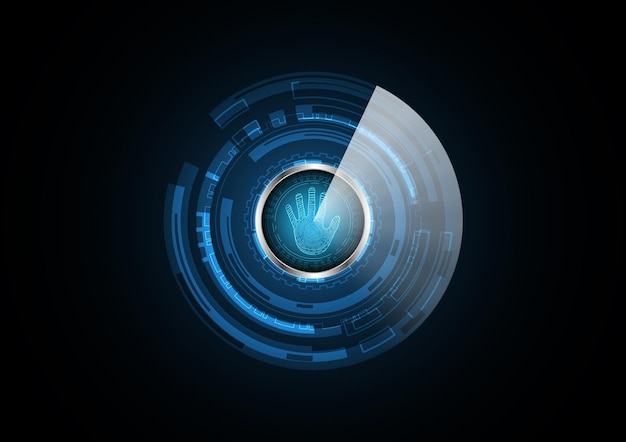 Technology abstract future hand radar security circle background vector illustration