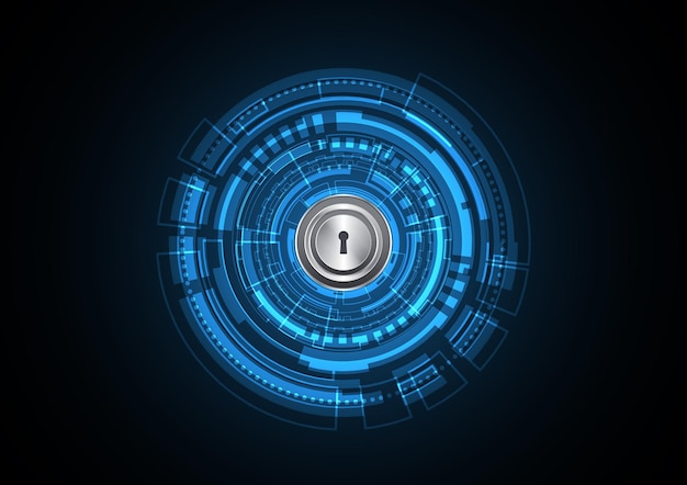 Technology abstract future lock keyhole circle background vector illustration
