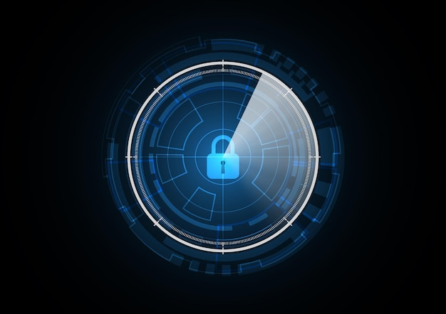 Technology abstract future lock radar security circle background vector illustration