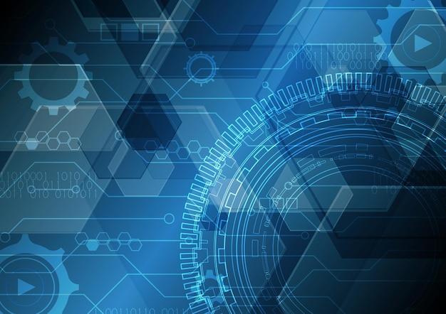 技術抽象未来現代回路円六角形の背景図