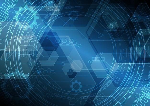 技術抽象未来現代回路円六角形の背景
