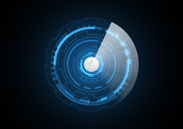 Technology abstract future power button circle Premium Vector