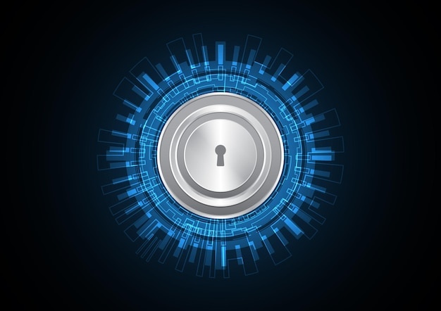 Technology abstract future security lock circle background vector illustration