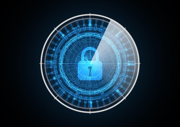 Technology abstract future security lock radar circle background vector illustration