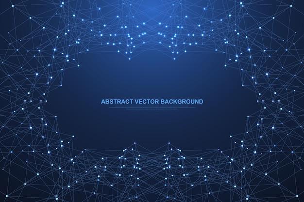 기술 추상 라인과 점은 배경을 연결합니다. 라인 신경총 연결 디지털 데이터와 빅 데이터 개념. 디지털 데이터 시각화. 벡터 일러스트 레이 션.