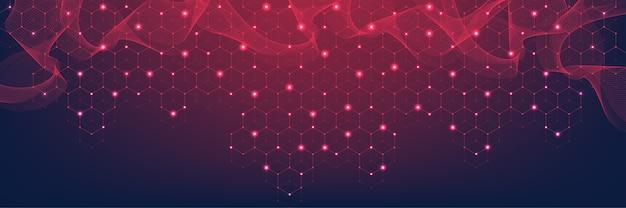 Технологические абстрактные линии и точки соединяют фон с шестиугольниками. шестиугольная сетка. шестиугольники соединения цифровых данных и концепции больших данных. шестнадцатеричная визуализация цифровых данных.