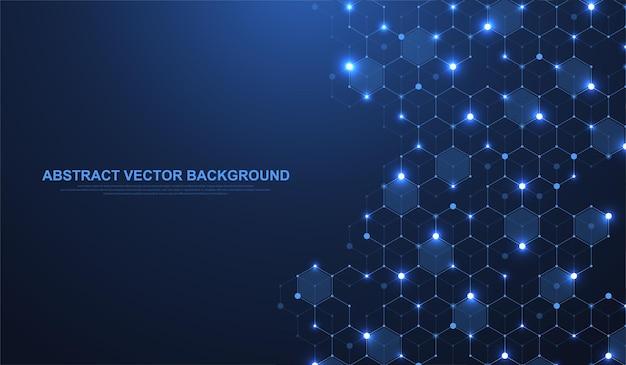 テクノロジーの抽象的な線と点は、背景と六角形を接続します。六角形の接続デジタルデータとビッグデータの概念。六角形のデジタルデータの視覚化。ベクトルイラスト。