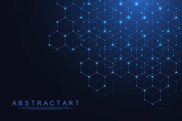 技術の抽象的な線とドットが背景を六角形に接続します。六角形の接続デジタルデータとビッグデータの概念。 16進デジタルデータの視覚化。 。