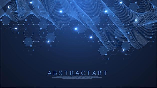 テクノロジーの抽象的な線と点は、背景と六角形を接続します。ベクトルイラスト