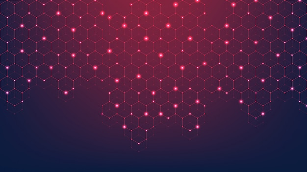 Technology abstract lines and dots connect background with hexagons. hexagon grid.