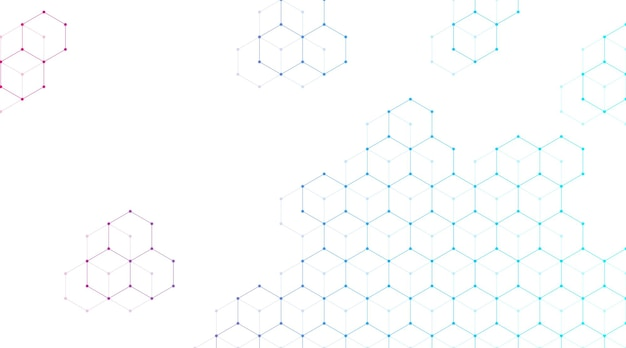 Technology abstract lines and dots connect background with hexagons. hexagons connection digital data and big data concept. hex digital data visualization. vector illustration.