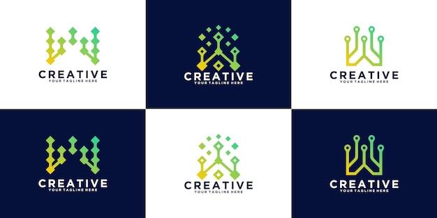 기술 추상 로고 설정 문자 w 기술 및 디지털에 대한 모노그램 디자인