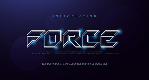 Technology abstract neon font and alphabet. techno effect logo designs. typography digital, space, movie, game fonts design concept .   illustration