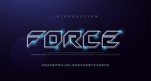 기술 추상 네온 글꼴 및 알파벳입니다. 테크노 효과 로고 디자인. 타이 포 그래피 디지털, 우주, 영화, 게임 글꼴 디자인 개념. 삽화