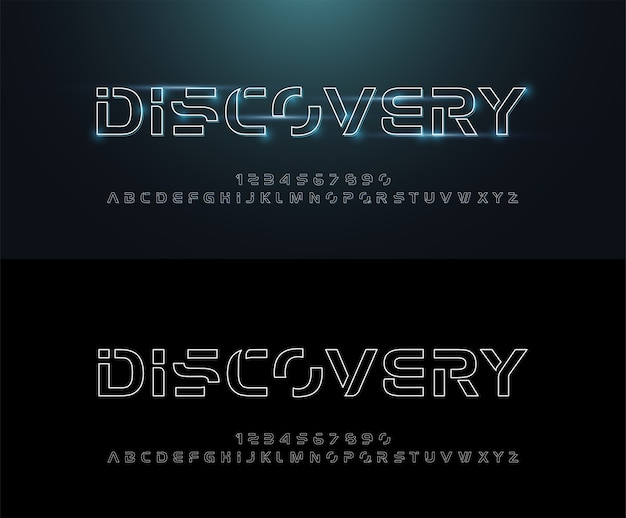 Technology abstract neon line stroke font and alphabet