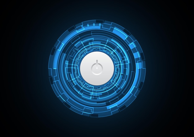 Technology abstract power button future circle background vector illustration