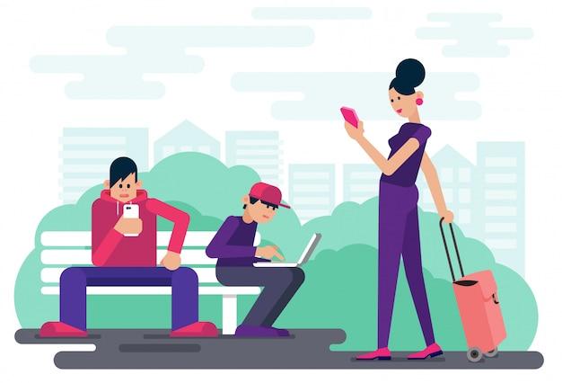 都市公園のベクトル図で時間を過ごしながらデジタルデバイスを閲覧する技術中毒の人々。