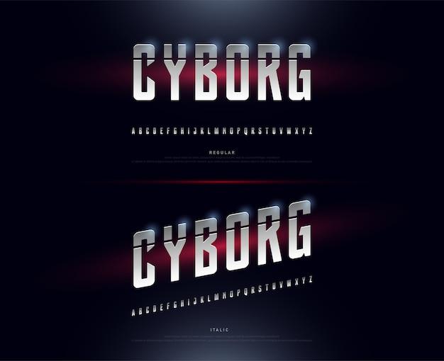 Technology alphabet silver metallic and effect designs