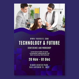 기술 및 미래 비즈니스 전단지 인쇄 템플릿