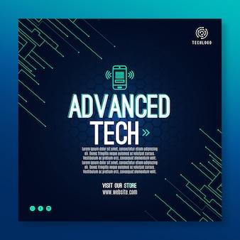 テクノロジーと将来のチラシスクエアテンプレート