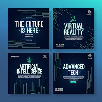 Шаблон сообщения instagram о технологиях и будущем