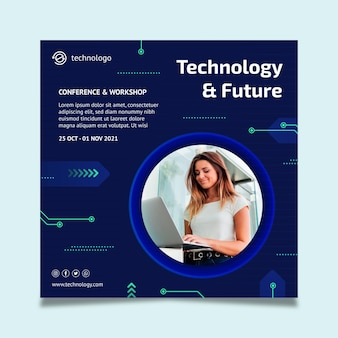Шаблон флаера в квадрате технологий и будущего