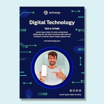 Шаблон вертикального флаера технологий и будущего