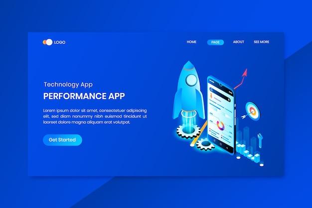 テクノロジーアプリアイソメトリックコンセプトのランディングページ