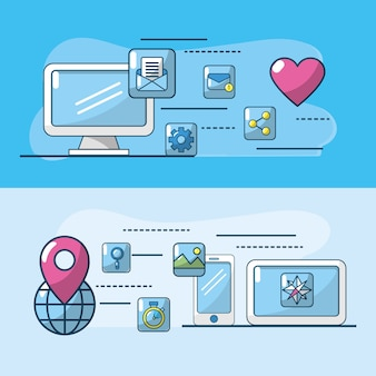 Technology apps connection to digital media data
