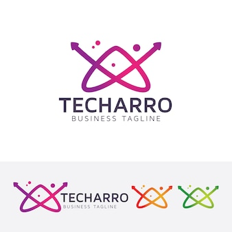 Technology arrow and letter a logo template