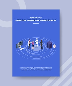 Technology artificial intelligence development people standing front robot