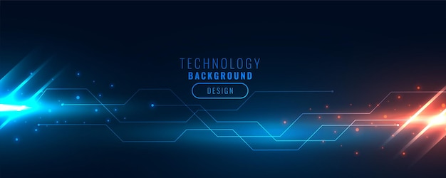 Technology backend banner with circuit lines and light streak