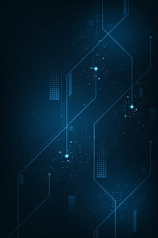 Technology background in the concept of circuits on vertical dark blue background.