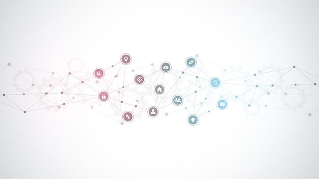 技術の背景。デジタル技術、ネットワーク接続および通信の概念。