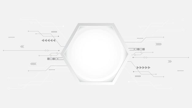 기술 배경 기하학적 장식 육각형 모양 개념 과학 기술 디지털 라인 흰색 배경